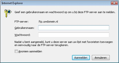 Inloggegevens FTP