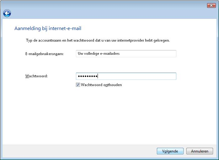 Accountinstellingen e-mail