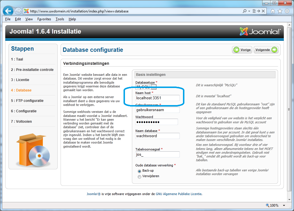 Joomla database configuratie