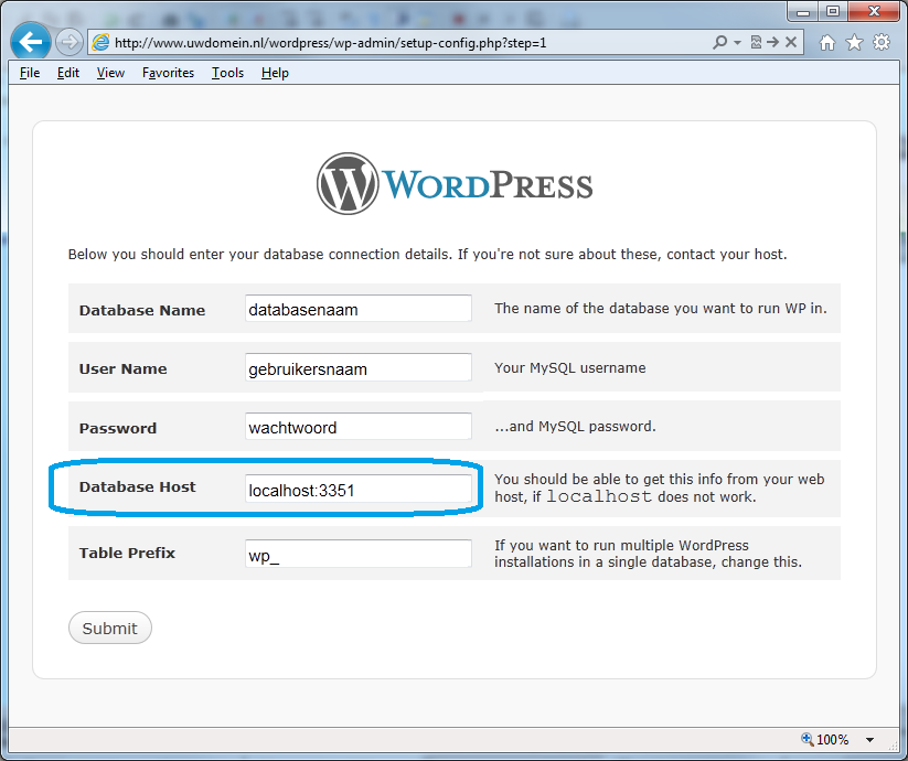 wordpress database host instellen