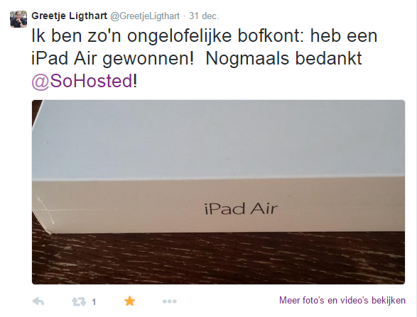 iPad Air winnaar SoHosted