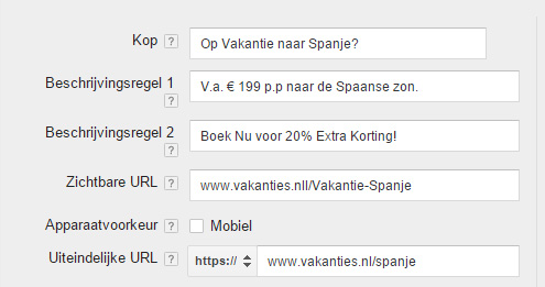 Google AdWords advertentie voorbeeld