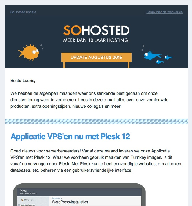 sohosted nieuwsbrief