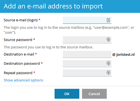 E-mailadres import